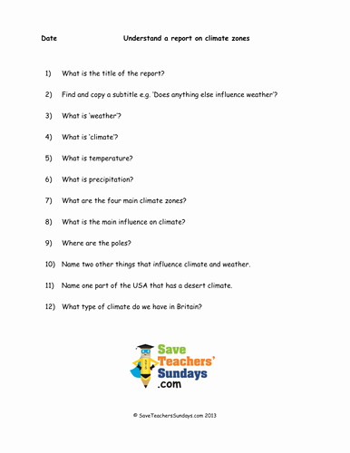 Weather Vs Climate Worksheet Best Of Prehension Guided Reading On Climate Zones by