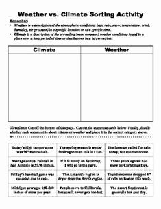 Weather Vs Climate Worksheet Lovely Climate and Weather Graphic organizer
