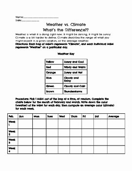 Weather Vs Climate Worksheet Lovely Weather Vs Climate M&m Activity by the Techie Science