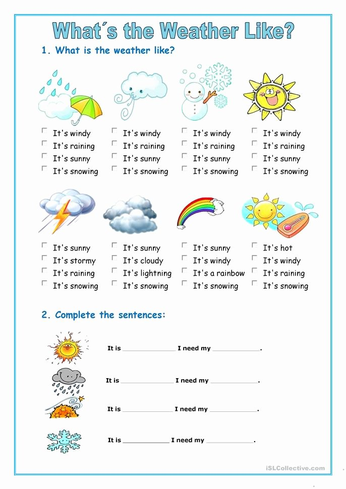 Weather Vs Climate Worksheet Luxury 423 Free Esl Weather Worksheets