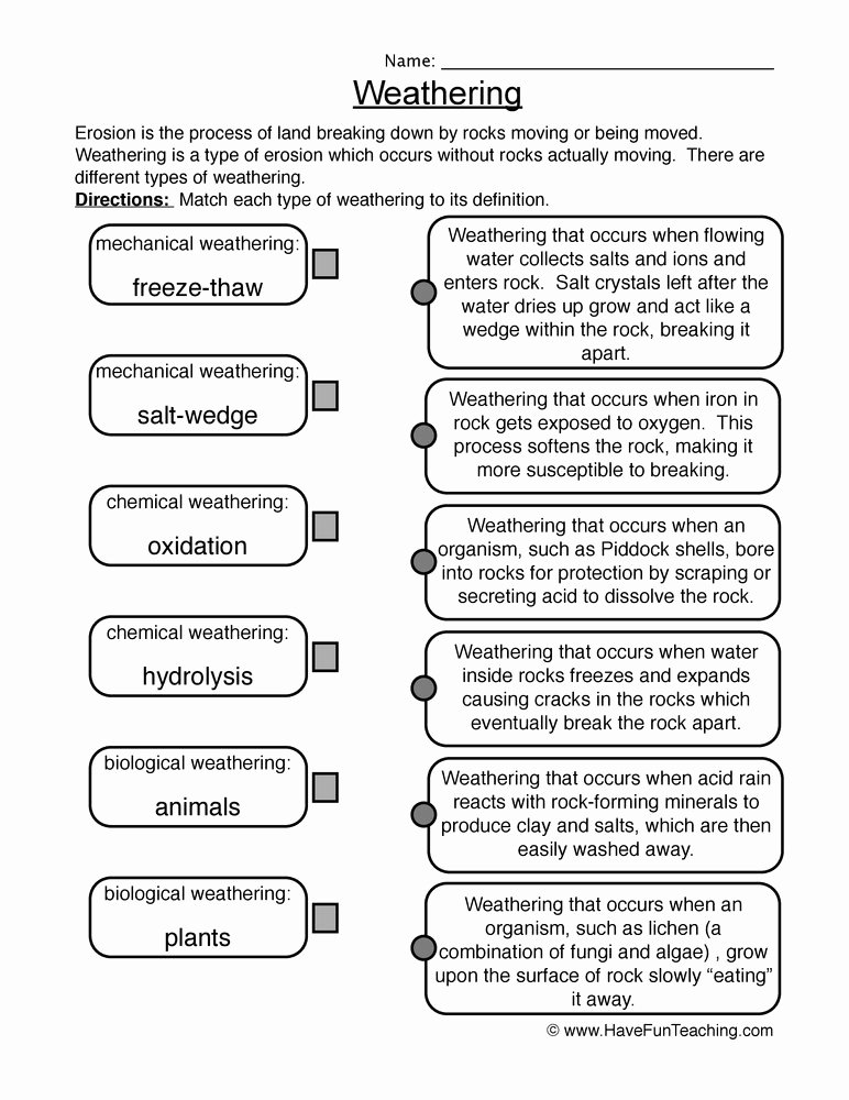 Weathering and Erosion Worksheet New Weathering and Erosion Worksheets