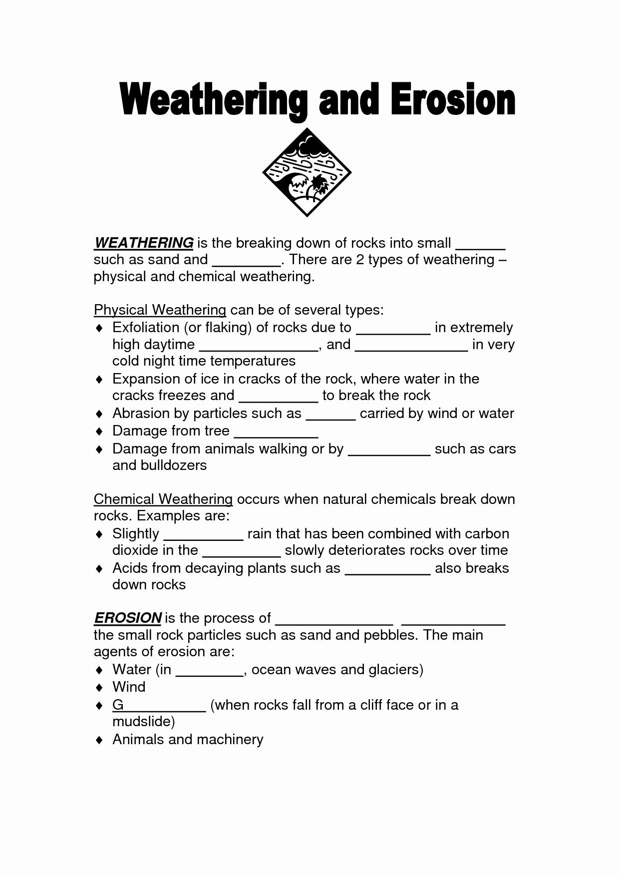 Weathering Erosion and Deposition Worksheet Elegant 16 Best Of Weathering and Erosion Worksheet