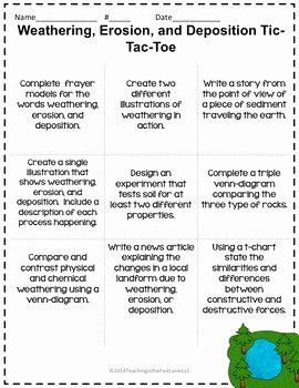 Weathering Erosion and Deposition Worksheet Elegant Weathering Erosion and Deposition Tictactoe Choice Board
