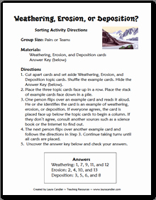 Weathering Erosion and Deposition Worksheet Inspirational Free Weathering Erosion and Deposition sorting Activity