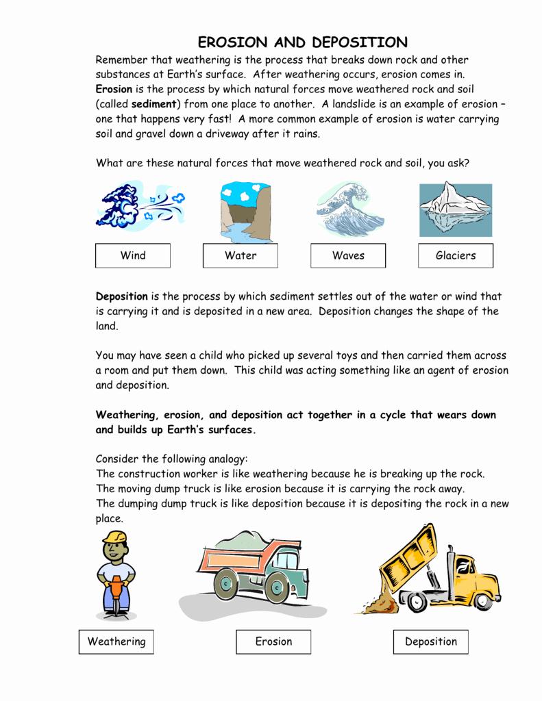 Weathering Erosion and Deposition Worksheet Lovely Erosion & Deposition Worksheet