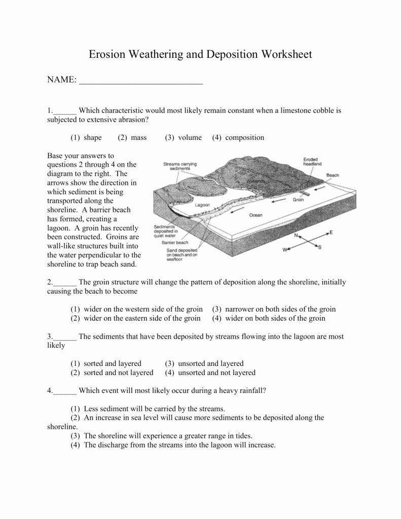 Weathering Erosion and Deposition Worksheet Lovely Review Worksheet Erosion Weathering and Deposition