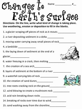 Weathering Erosion and Deposition Worksheet New Changes to Earth S Surface Weathering Erosion and