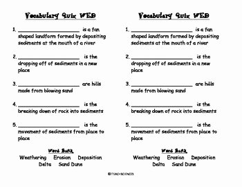Weathering Erosion and Deposition Worksheet Unique Weathering Erosion Deposition Vocab Pack by