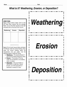 Weathering Erosion and Deposition Worksheet Unique What is It Weathering Erosion or Deposition 4th 8th