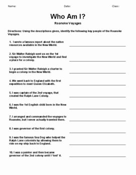 Who Am I Worksheet Best Of who Am I Roanoke Lost Colony Worksheet Activity with