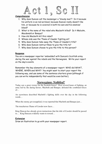 Whose Phone is This Worksheet Awesome Macbeth Act 1 Scene 2 Newspaper Task Worksheet by