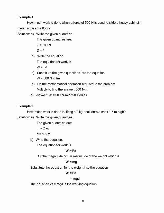 Work and Energy Worksheet Answers Best Of Work and Energy Worksheet with Answers Livinghealthybulletin