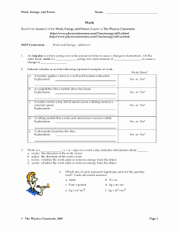 Work and Energy Worksheet Answers Best Of Work External Physics Classroom Worksheet Answers