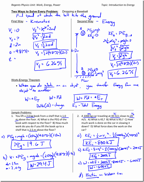 Work and Energy Worksheet Answers Elegant Gravitational Potential Energy Archives Regents Physics