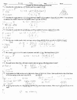 Work and Energy Worksheet Answers Inspirational Work Power and Energy Practice Problems with Key by Mrs