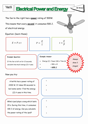 Work and Energy Worksheet Answers New Electricity Power and Time Worksheet by Lmow20