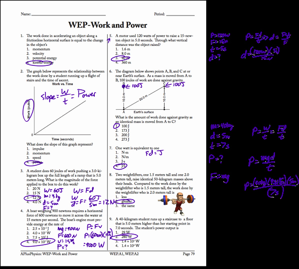 Work and Energy Worksheet Answers Unique Power Archives Page 2 Of 5 Regents Physics