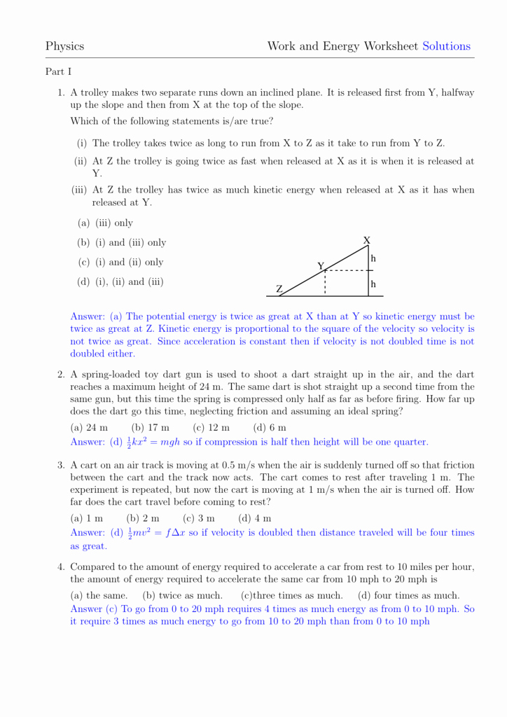 Work Power and Energy Worksheet Beautiful Physics Work and Energy Worksheet solutions