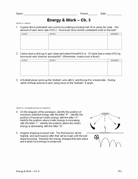 Work Power and Energy Worksheet Best Of Energy and Work Worksheet for 7th 10th Grade