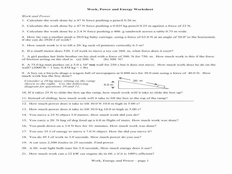 Work Power and Energy Worksheet New Calculating Power Worksheet Free Printable Worksheets