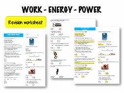 Work Power and Energy Worksheet Unique Work Energy Power – Revision Worksheet by Veyselbiga