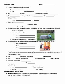 Work Power Energy Worksheet Awesome Introduction to Work and Power Guided Notes and Practice