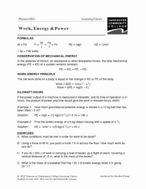 Work Power Energy Worksheet Best Of 14 Best Of Light and Waves Worksheet sound Wave