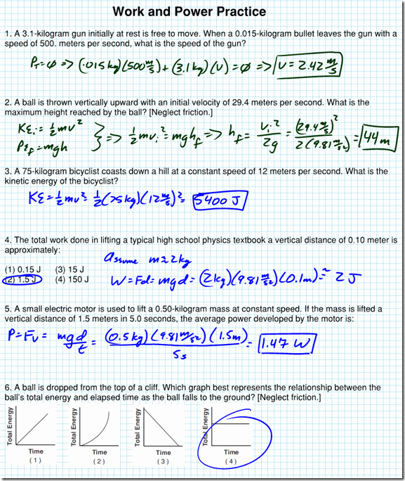 Work Power Energy Worksheet Inspirational Work and Power Practice Ws solutions Regents Physics