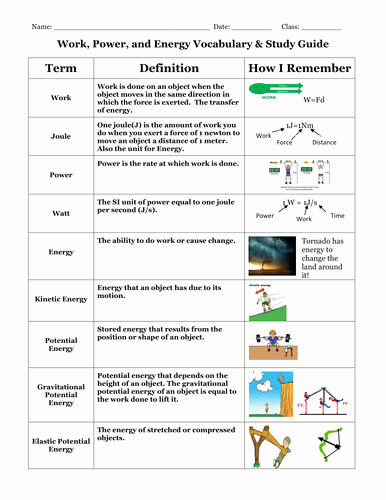Work Power Energy Worksheet Lovely Work Power and Energy Vocabulary and Study Guide