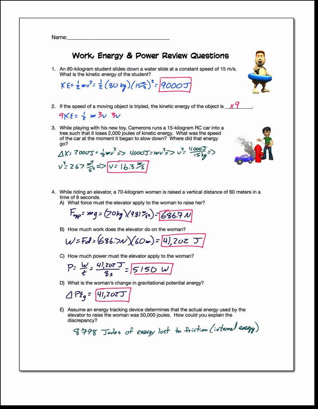 Work Power Energy Worksheet Luxury Work Energy Power Review Regents Physics