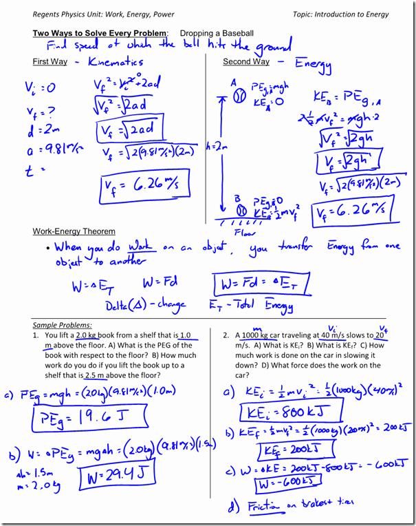 Work Power Energy Worksheet Unique Kinetic Energy Archives Regents Physics