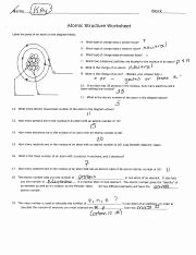 Worksheet atomic Structure Answers Awesome atoms Family Worksheets Name Period atomic Structure
