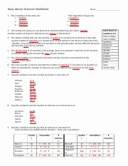Worksheet atomic Structure Answers Best Of Basic atomic Structure Worksheet Basic atomic Structure