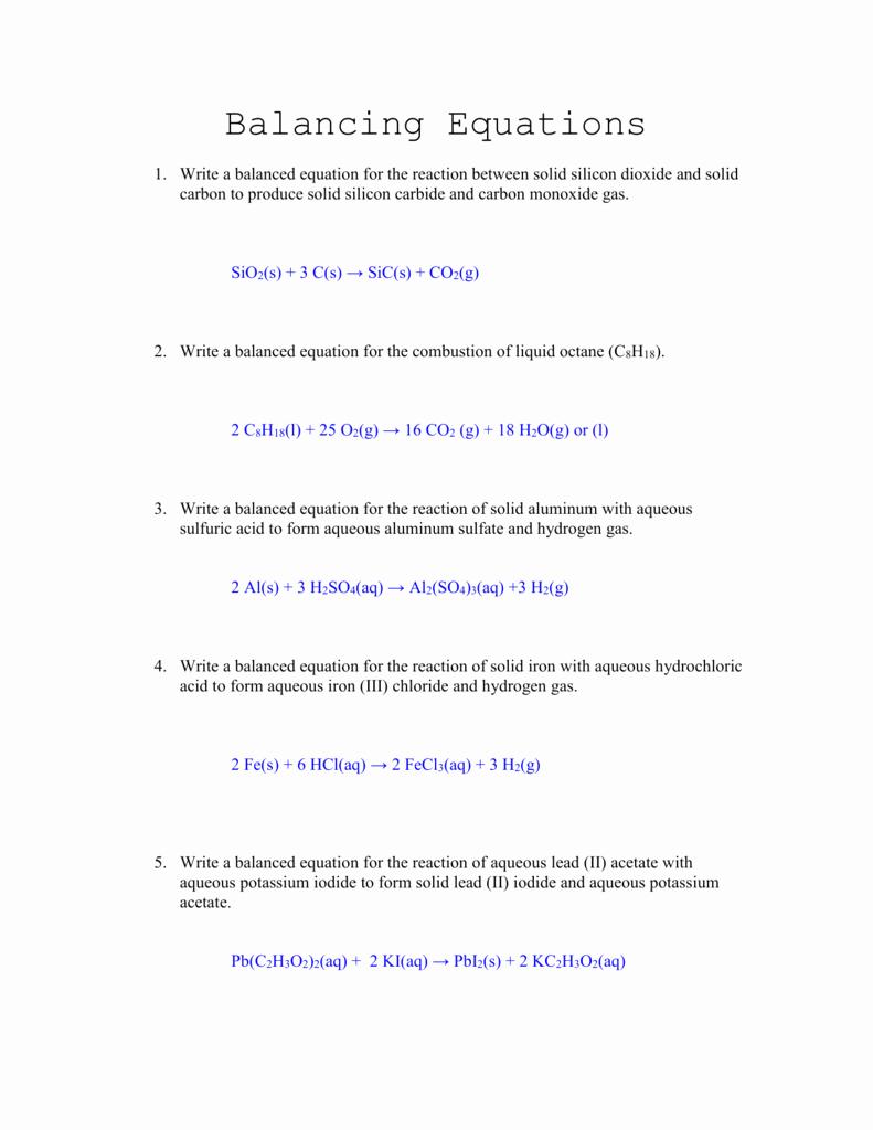 Worksheet Balancing Equations Answers Beautiful Balancing Equations Worksheet Answers