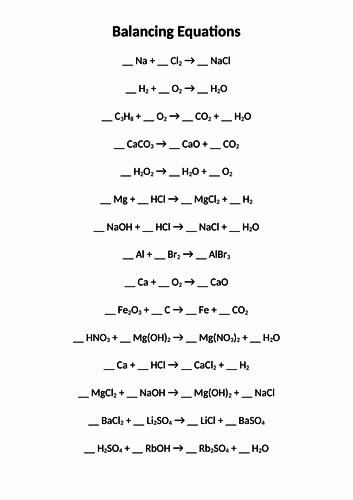 Worksheet Balancing Equations Answers Inspirational Balancing Equations Worksheet by Twilight101