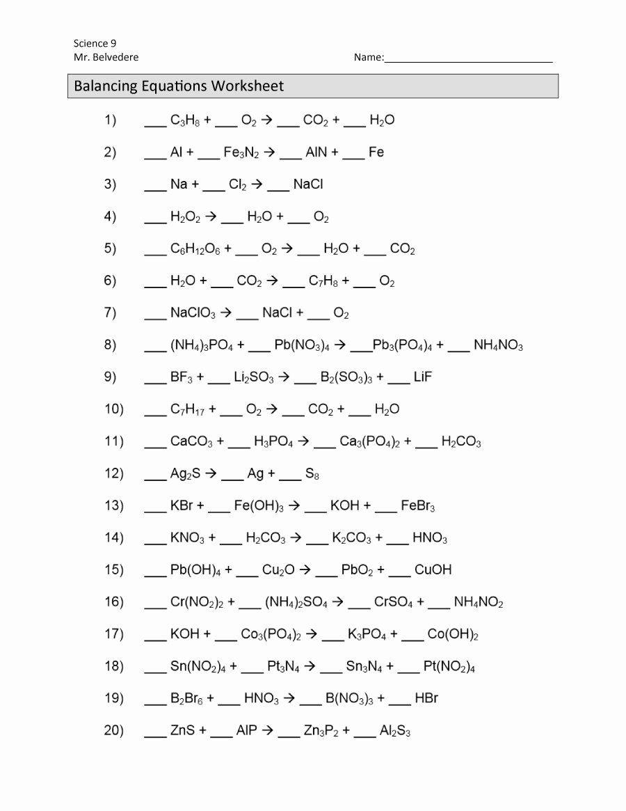 Worksheet Balancing Equations Answers New 49 Balancing Chemical Equations Worksheets [with Answers]