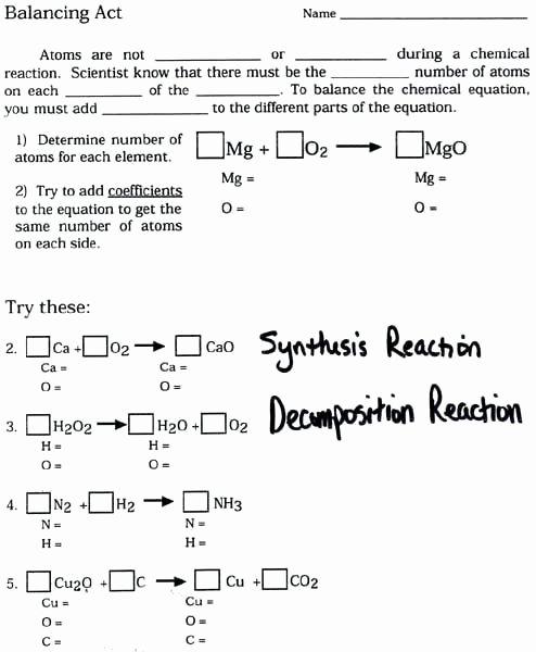 Worksheet Balancing Equations Answers New Balancing Chemical Equations Practice Worksheet Answer Key