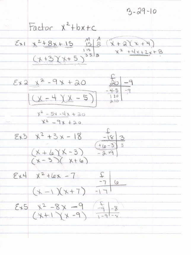 Worksheet Factoring Trinomials Answers New Worksheet Factoring Trinomials Answers