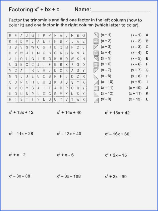Worksheet Factoring Trinomials Answers Unique Math Funbook Worksheet Answers