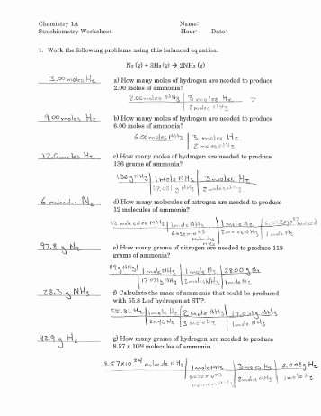 Worksheet for Basic Stoichiometry Answer Awesome Chm 130 Stoichiometry Worksheet