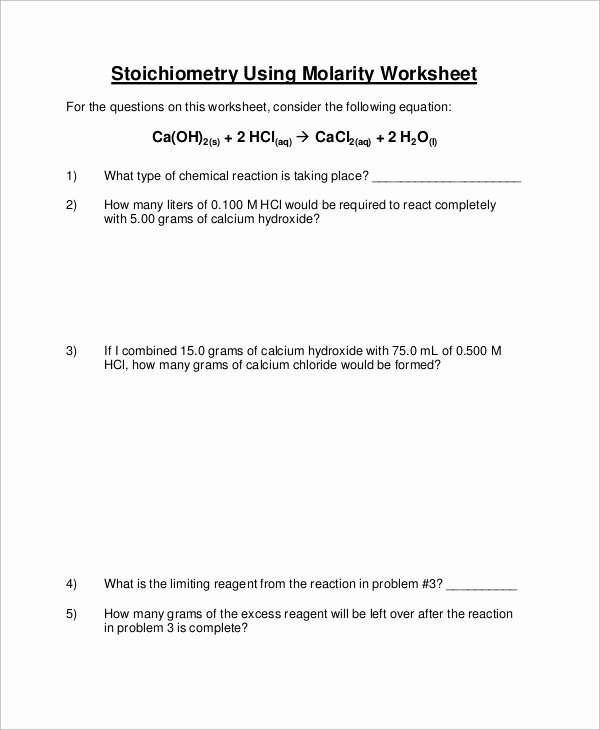 Worksheet for Basic Stoichiometry Answer Fresh Sample Stoichiometry Worksheet 9 Examples In Word Pdf