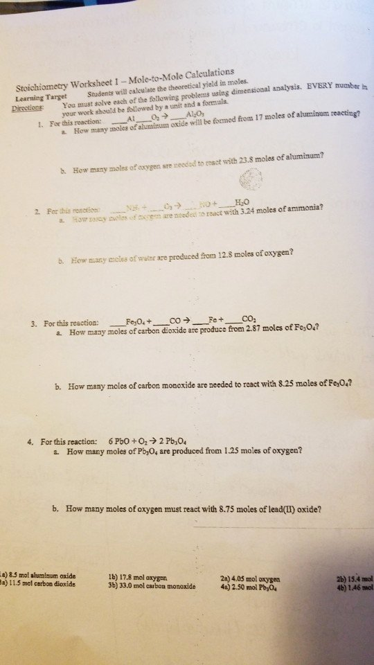 Worksheet for Basic Stoichiometry Answer Fresh Stoichiometry Worksheet 1 Mole to Mole Calculations