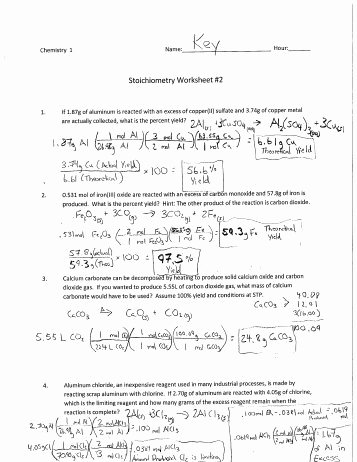 Worksheet for Basic Stoichiometry Answer Inspirational Stoichiometry Worksheet 2 Answers Siteraven