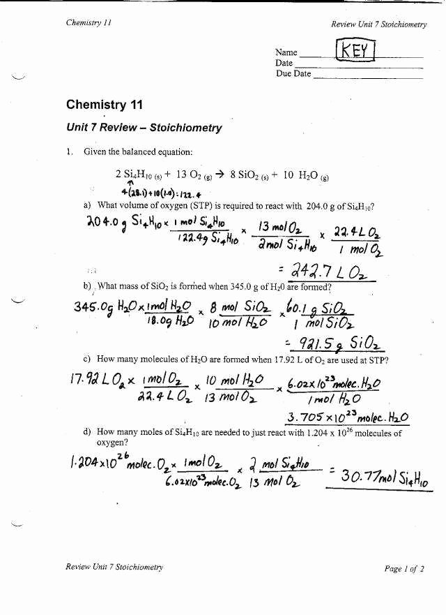 Worksheet for Basic Stoichiometry Answer Inspirational Stoichiometry Worksheet Answers