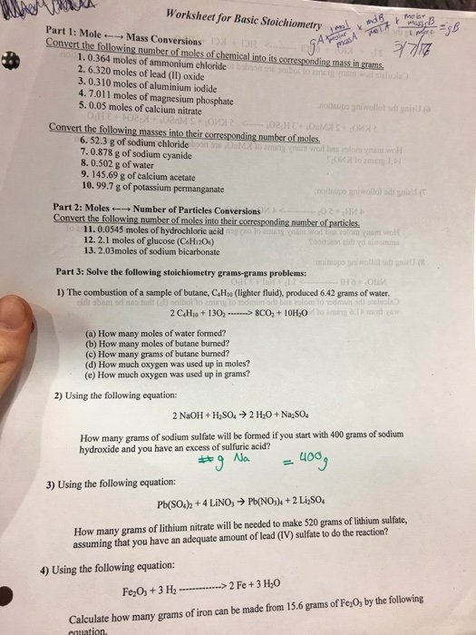 Worksheet for Basic Stoichiometry Answer New solved Worksheet for Basic Stoichiometry Morar Part 1 M