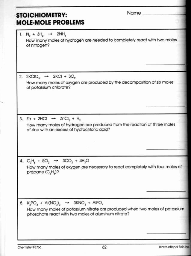 Worksheet for Basic Stoichiometry Answer Unique Stoichiometry Worksheet Answers