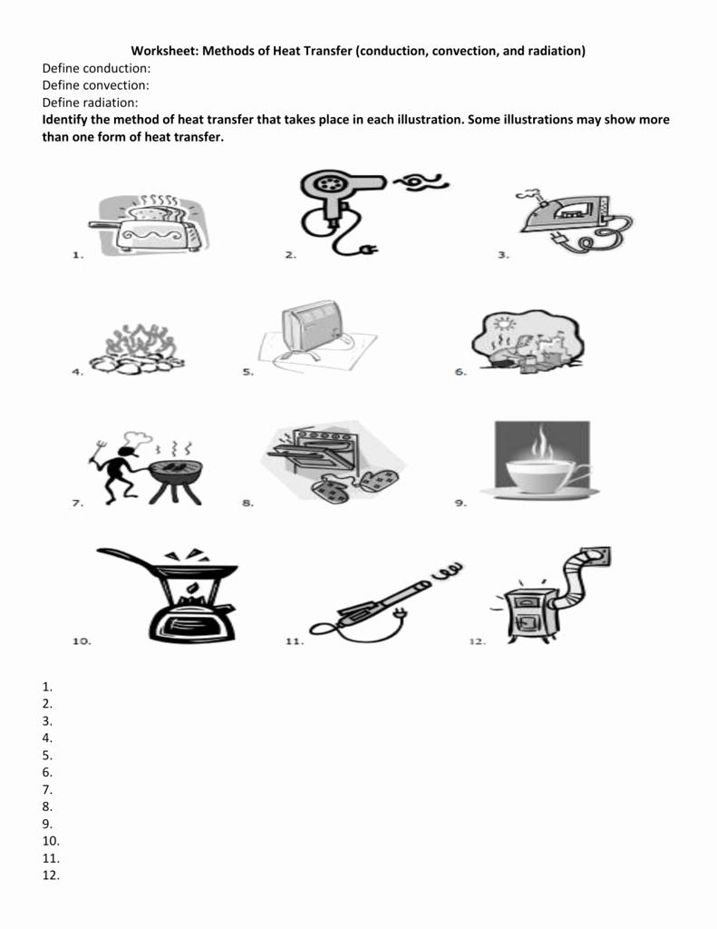 Worksheet Methods Of Heat Transfer Fresh Methods Of Heat Transfer Worksheet