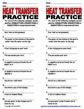 Worksheet Methods Of Heat Transfer Lovely Heat Transfer Practice Worksheet by Science Teacher