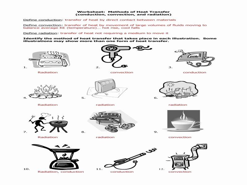 Worksheet Methods Of Heat Transfer Luxury Conduction Convection Radiation Worksheet Free Printable