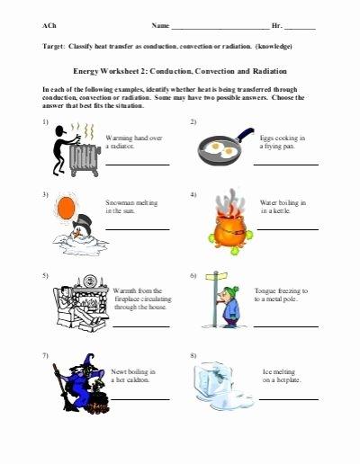 Worksheet Methods Of Heat Transfer Luxury Conduction Convection Radiation Worksheet